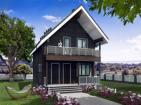 Одноэтажный дом с мансардой, террасой и балконом